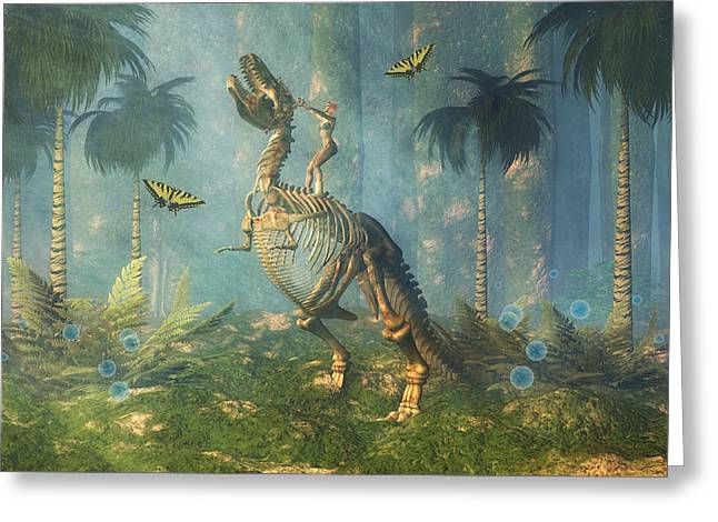 Primeval Greeting Cards - Dinosaur Warrior  Greeting Card by Carol and Mike Werner