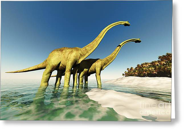Large Scale Digital Art Greeting Cards - Dinosaur World Greeting Card by Corey Ford