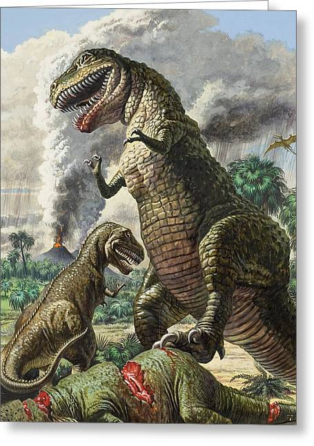 T-rex Greeting Cards - Dinosaurs Greeting Card by Harry Green