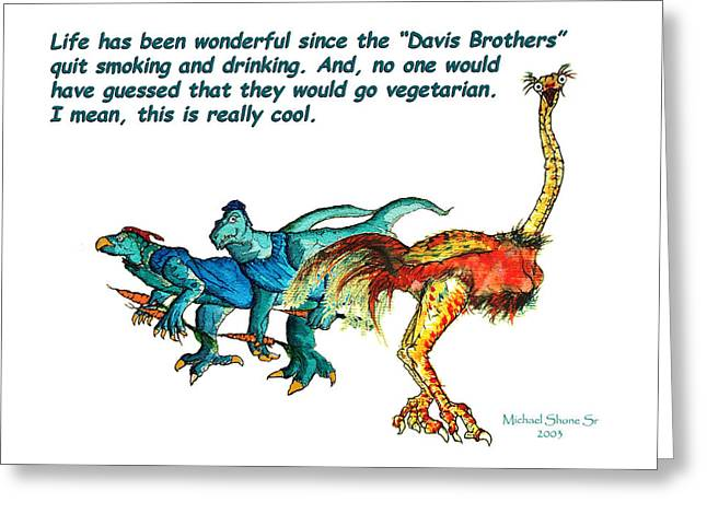 Dinosaurs Greeting Cards - Dinosaurs Quit Drinking Go Vegetarian Greeting Card by Michael Shone SR