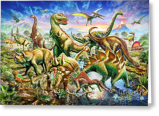 Vertebrate Greeting Cards - Dinoscene   Greeting Card by Adrian Chesterman
