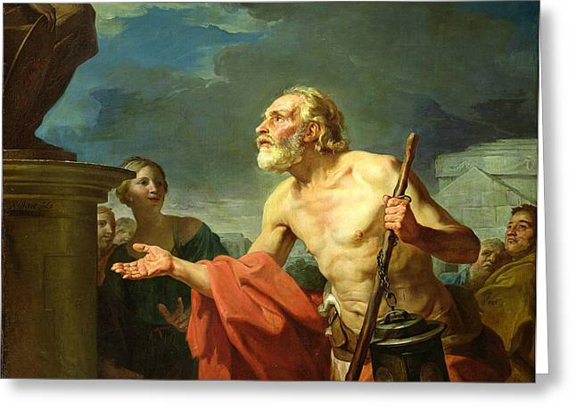 Begging Greeting Cards - Diogenes Asking For Alms, 1767 Oil On Canvas Greeting Card by Jean Bernard Restout
