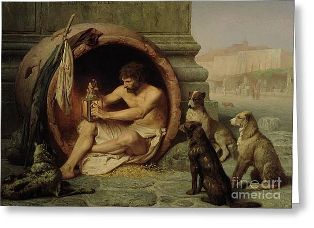 Oil Lamp Greeting Cards - Diogenes Greeting Card by Jean Leon Gerome