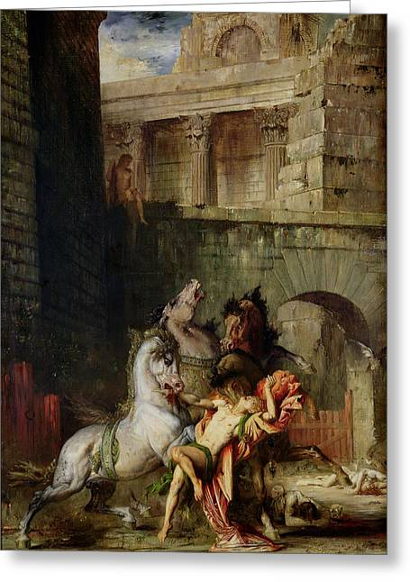 Greek Myths Greeting Cards - Diomedes Being Eaten By His Horses, 1865 Oil On Canvas Greeting Card by Gustave Moreau