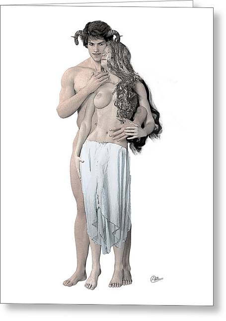 Veiled Drawings Greeting Cards - Dionysus and Ariadne n4 Greeting Card by Joaquin Abella