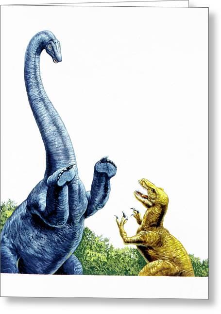 Diplodocus Defending Itself Greeting Card by Deagostini/uig