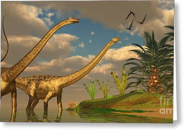 Diplodocus Digital Greeting Cards - Diplodocus Dinosaur Romance Greeting Card by Corey Ford