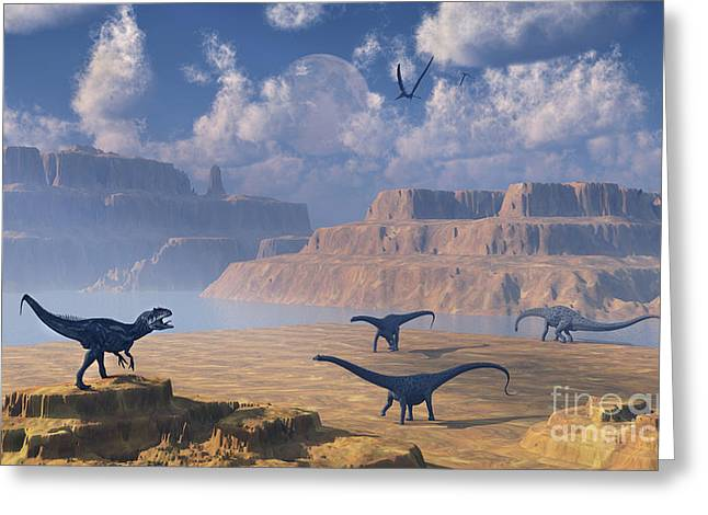 The Plateaus Digital Greeting Cards - Diplodocus Dinosaurs Being Stalked Greeting Card by Mark Stevenson