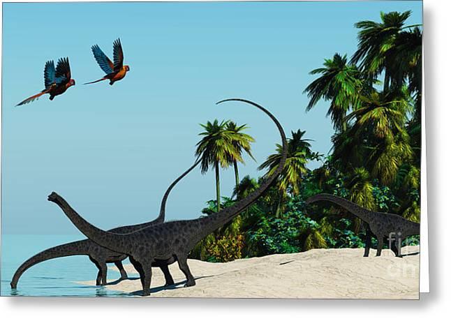 Diplodocus Digital Greeting Cards - Diplodocus Drinking Greeting Card by Corey Ford