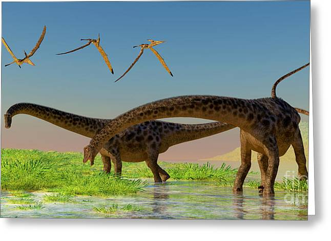 Diplodocus Digital Greeting Cards - Diplodocus Feeding Greeting Card by Corey Ford