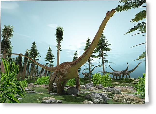 Diplodocus Digital Greeting Cards - Diplodocus World Greeting Card by Corey Ford