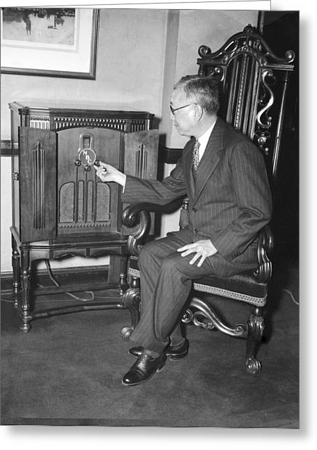 International Relations Greeting Cards - Diplomat listens to radio broadcast, Greeting Card by Science Photo Library