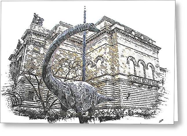 Carnegie Museum Greeting Cards - Dippy Greeting Card by Spencer McKain