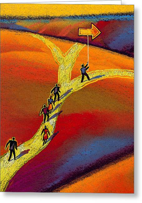 Businessmen Greeting Cards - Direction Greeting Card by Leon Zernitsky