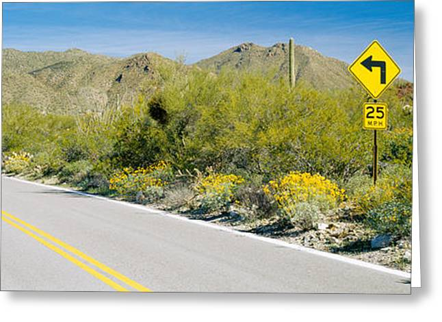 Double Yellow Line Greeting Cards - Directional Signboard At The Roadside Greeting Card by Panoramic Images