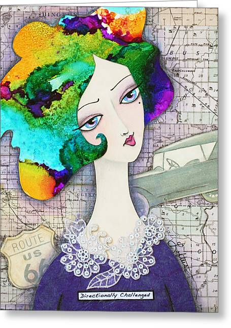 Marble Eye Mixed Media Greeting Cards - Directionally Challenged Greeting Card by Joann Loftus