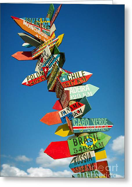 Geographical Locations Greeting Cards - Directions Signs Greeting Card by Carlos Caetano
