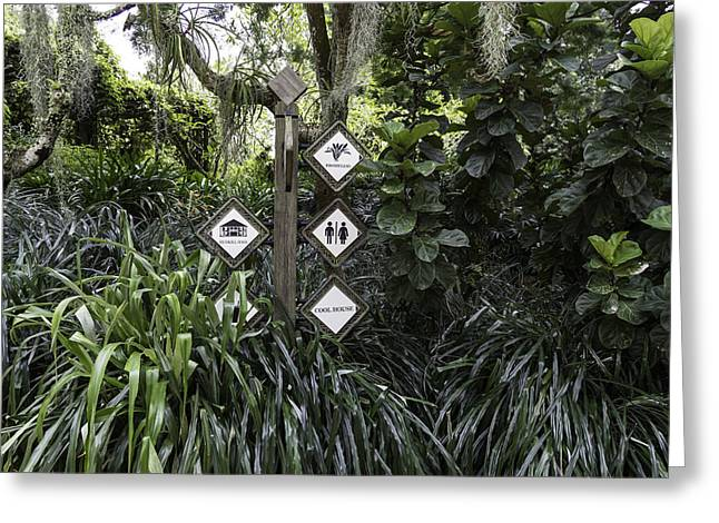 Greenery Greeting Cards - Directions to different parts of the National Orchid Garden in Singapore Greeting Card by Ashish Agarwal