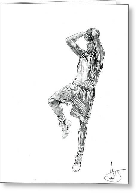 Mvp Drawings Greeting Cards - Dirk Nowitzki Greeting Card by Joshua Sooter