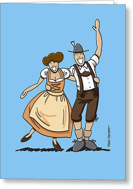 Ramspott Greeting Cards - Dirndl And Lederhosen Couple Hugging Greeting Card by Frank Ramspott