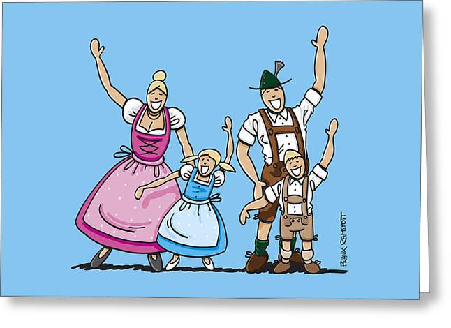 Men Greeting Cards - Dirndl And Lederhosen Family Waving Hands Greeting Card by Frank Ramspott