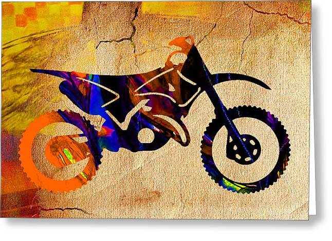Cycle Greeting Cards - Dirt Bike Art Greeting Card by Marvin Blaine