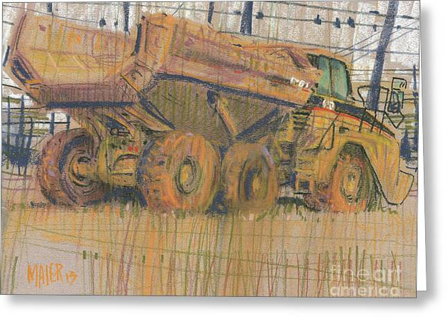 Truck Drawings Greeting Cards - Dirt Mover Greeting Card by Donald Maier