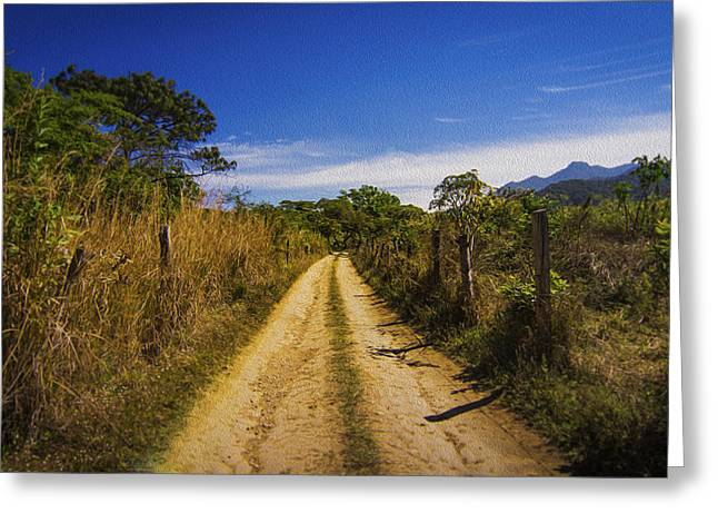 Dark Blue Green Greeting Cards - Dirt Road Greeting Card by Aged Pixel
