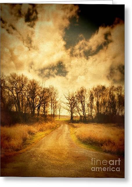 Gravel Road Greeting Cards - Dirt Road Greeting Card by Jill Battaglia