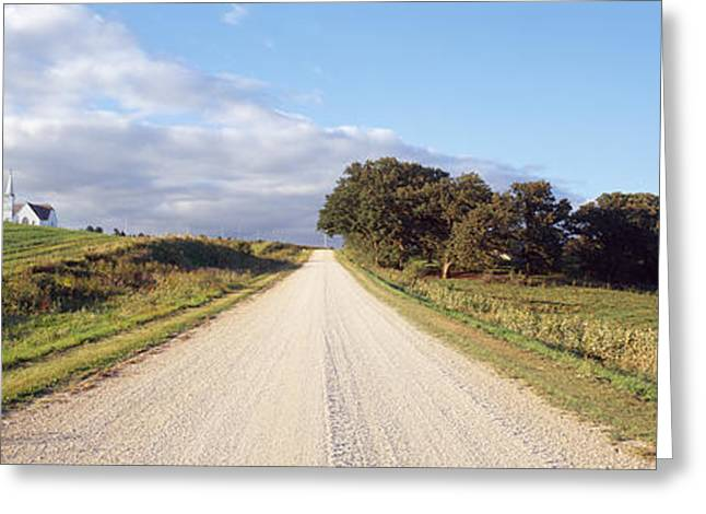 The Church Greeting Cards - Dirt Road Leading To A Church, Iowa, Usa Greeting Card by Panoramic Images