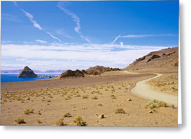 Pyramids Greeting Cards - Dirt Road On A Landscape, Pyramid Lake Greeting Card by Panoramic Images
