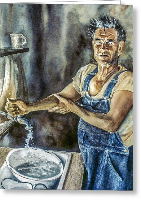 St Petersburg Florida Paintings Greeting Cards - Dirty Hands Greeting Card by Kevin Thomas