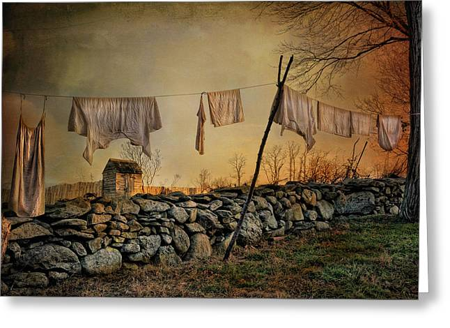 Sheds Greeting Cards - Linen on the Line Greeting Card by Robin-lee Vieira