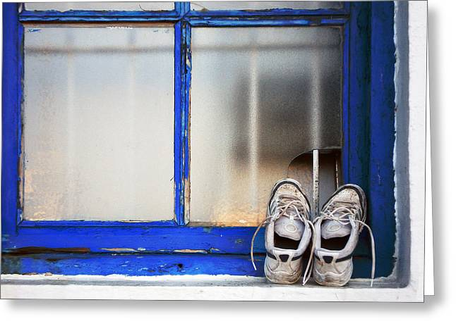 Perspiration Greeting Cards - Dirty Old Shoes Airing On A Window Greeting Card by Mikel Martinez de Osaba