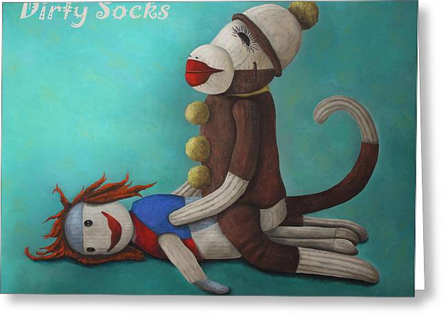 Making Love Greeting Cards - Dirty Socks 4 with Lettering Greeting Card by Leah Saulnier The Painting Maniac