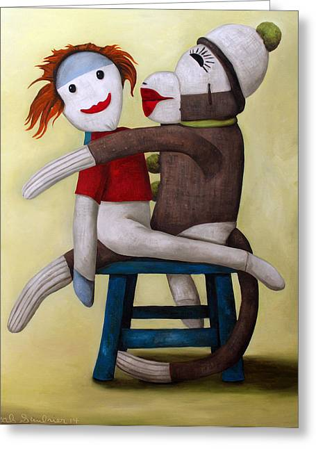 Doll Paintings Greeting Cards - Dirty Socks 5 Greeting Card by Leah Saulnier The Painting Maniac