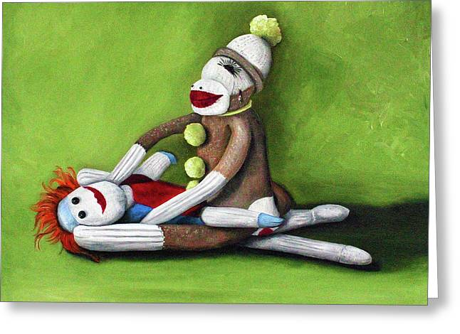 Sock Greeting Cards - Dirty Socks Greeting Card by Leah Saulnier The Painting Maniac