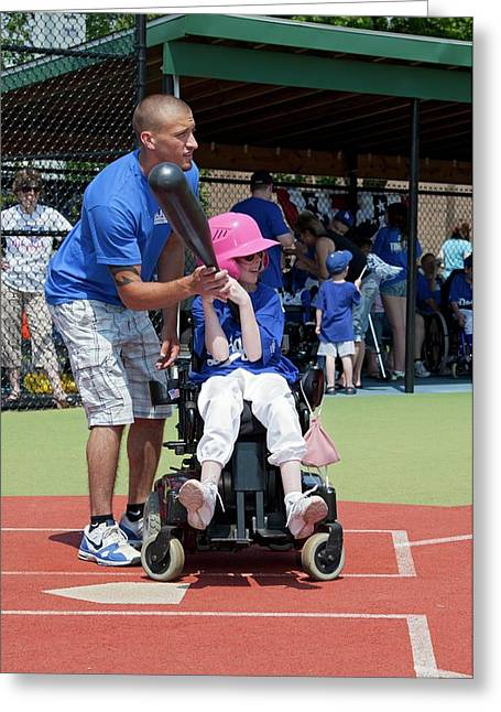 Disabled Girl Playing Baseball Greeting Card by Jim West