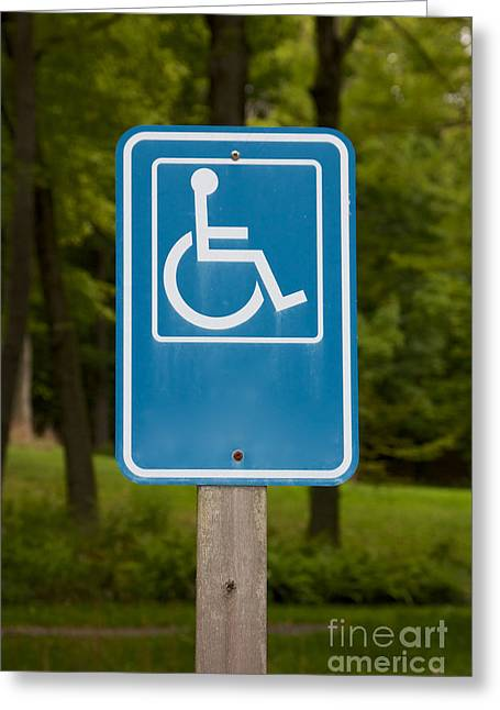 Reserve Pastels Greeting Cards - Disabled Parking Sign Greeting Card by Jannis Werner