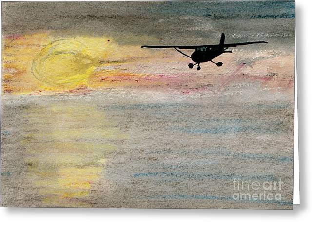 Propeller Paintings Greeting Cards - Disappearing Horizon Greeting Card by R Kyllo