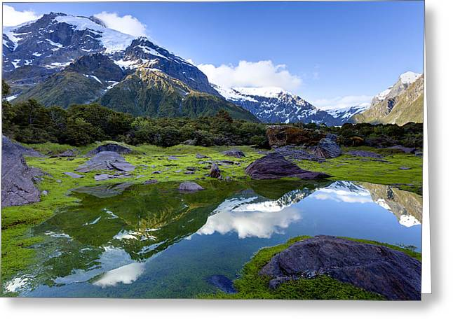 Moss Green Greeting Cards - Disappearing Tarn Greeting Card by Alexey Stiop