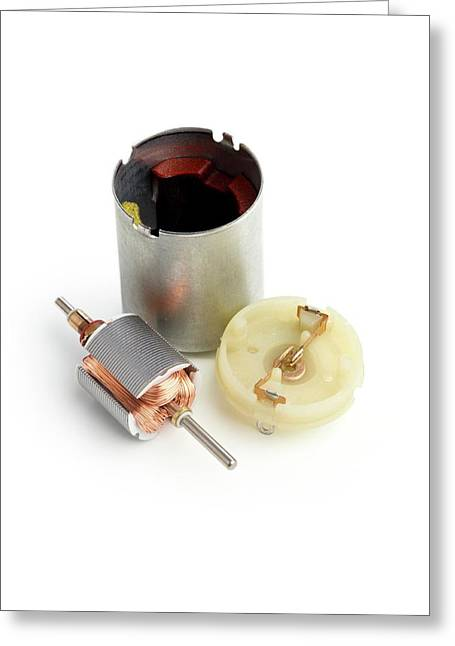 Disassembled Dc Motor Greeting Card by Science Photo Library