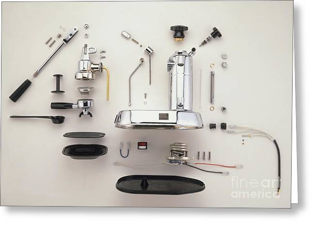Disassembled Greeting Cards - Disassembled Espresso Machine Greeting Card by Dave King / Dorling Kindersley / Pavoni SPA