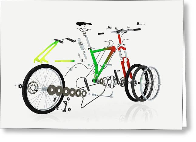 Disassembled Parts Of A Mountain Bike Greeting Card by Dorling Kindersley/uig