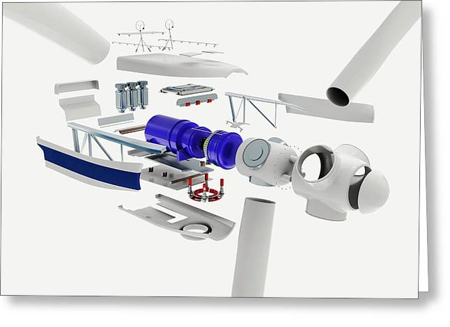 Disassembled Parts Of A Wind Turbine Greeting Card by Dorling Kindersley/uig