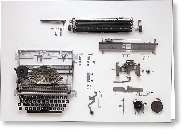 Disassembled Greeting Cards - Disassembled Typewriter Greeting Card by Dave King / Dorling Kindersley / Allens Typewriters Ltd