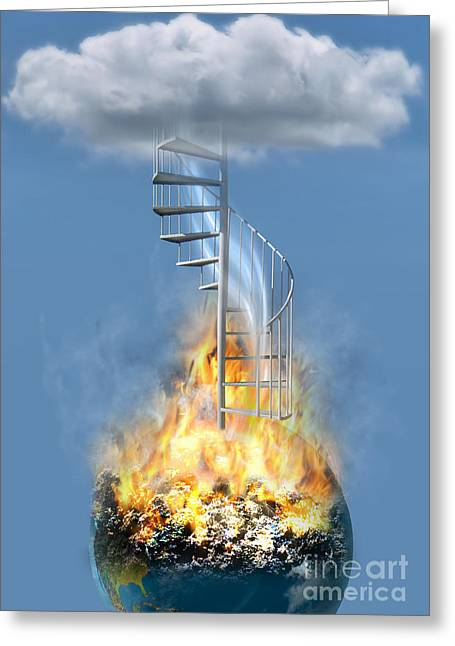 Stairway To Heaven Greeting Cards - Disaster Earth Stairs Cloud Greeting Card by Mike Agliolo