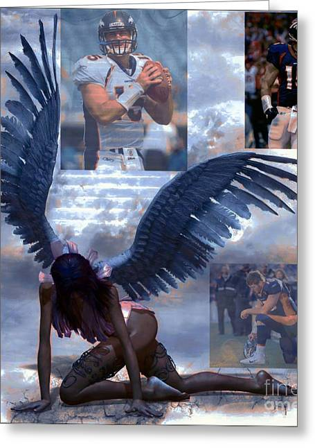 Tebow Greeting Cards - Discarded Angel Greeting Card by M and L Creations