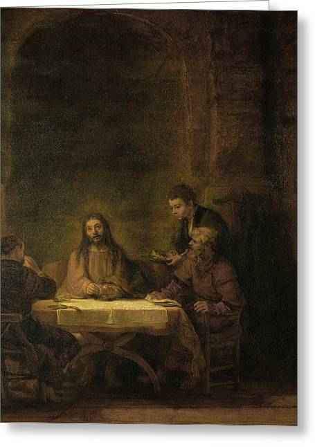 Storm Prints Paintings Greeting Cards - Disciples at Emmaus Greeting Card by Rembrandt