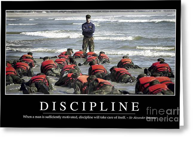 Navy Cross Greeting Cards - Discipline Inspirational Quote Greeting Card by Stocktrek Images